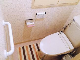 トイレリフォーム 防カビ仕様のクロスとフチレス便器で掃除楽々なトイレ